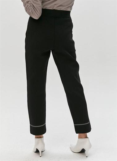 Rue Kontrast Çizgili Triko Pantolon Siyah